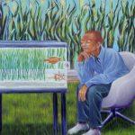 Fisch | Mann, Öl/ Baumwolle, 2008, 130 x 130