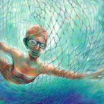 Freischwimmerin, Öl/ Baumwolle, 2006, 100 x 100
