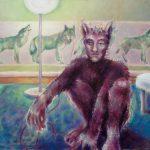Wolfsmuttertapete, Öl/ Baumwolle, 2007, 100 x 140