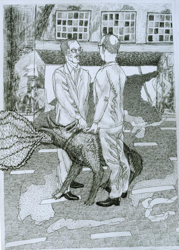 zwei Männer und Hund